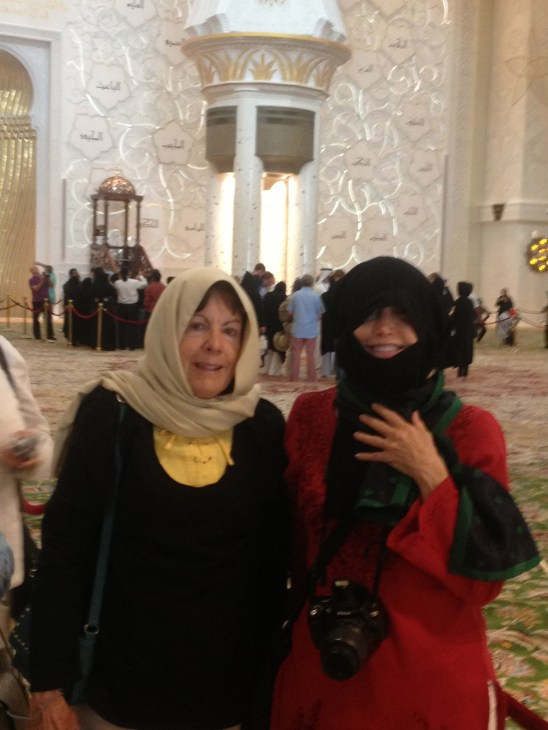 two women in a mosque in Abu Dhabi