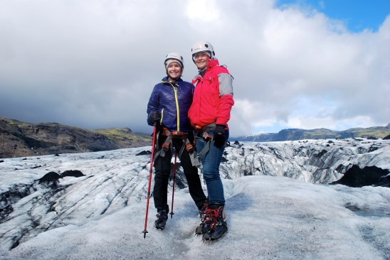 Two women on a glacier in Iceland