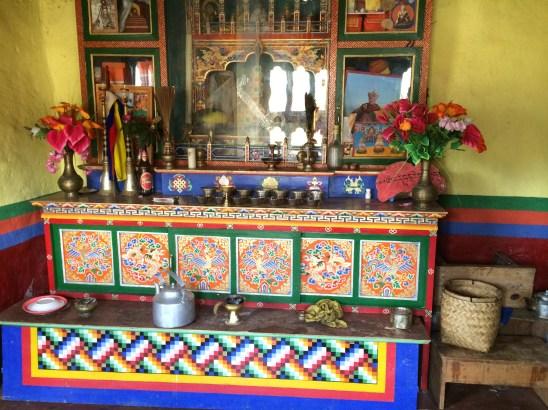 Shrine room in home in Bhutan