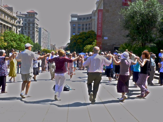 Sardana dance being done in Gothic Quarter, Barcelona, Spain