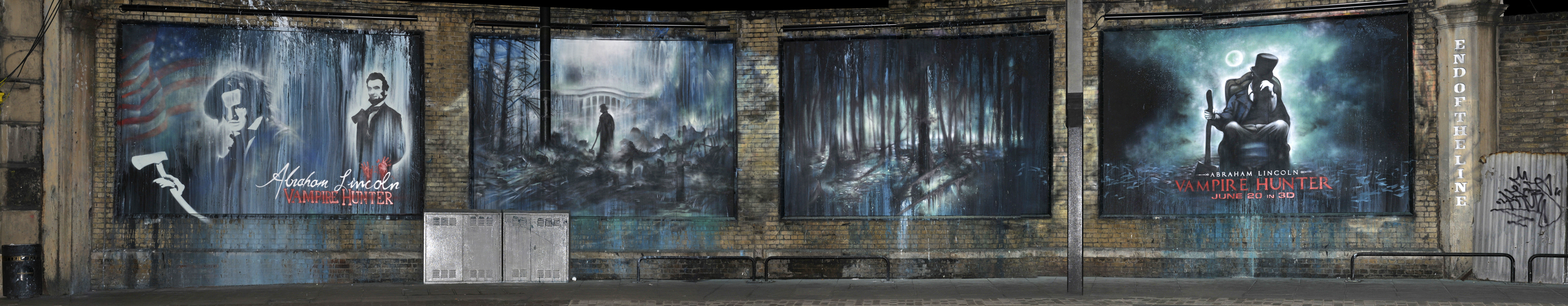 Check out a sweet 39 abraham lincoln vampire hunter 39 mural for Blood in blood out mural