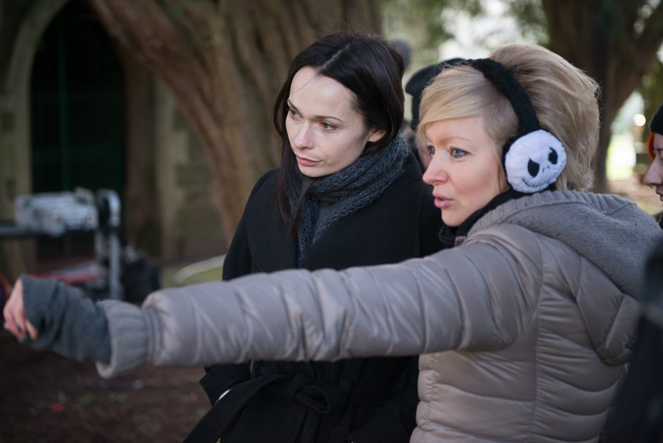 Axelle Carolyn and actress Anna Walton on the set of Soulmate