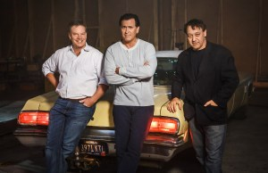 "PHOTO CAPTION: From left to right: Executive producer Robert Tapert, star of the series and executive producer Bruce Campbell along with executive producer Sam Raimi, original filmmakers of the EVIL DEAD franchise, start production on the TV series ""Ash vs Evil Dead"" which will premiere this fall on Starz. PHOTO CREDIT: © 2015 Starz Entertainment, LLC"