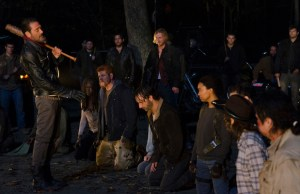 Danai Gurira as Michonne; Michael Cudlitz as Sgt Abraham Ford; Lauren Cohan as Maggie Greene; Andrew Lincoln as Rick Grimes; Sonequa Martin-Green as Sasha; Jeffrey Dean Morgan as Negan Chandler Riggs as Carl Grimes; Josh McDermitt as Dr Eugene Porter - The Walking Dead _ Season 6, Episode 16 - Photo Credit: Gene Page/AMC