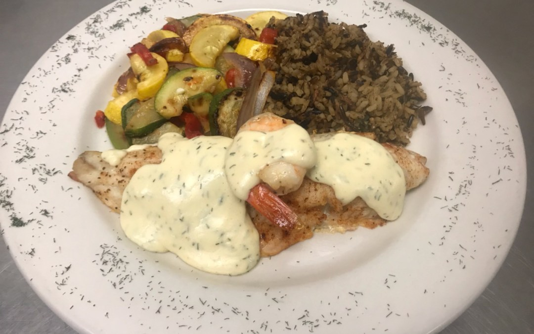November Seafood Special – Broiled Walleye with a Poached Shrimp