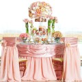 beautiful pink and peach wedding tablescape