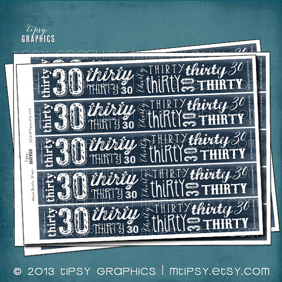 Dirty Thirty Drink lables