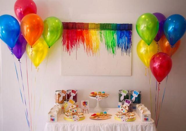 Art Party Dessert table-Love the crayon backgroud
