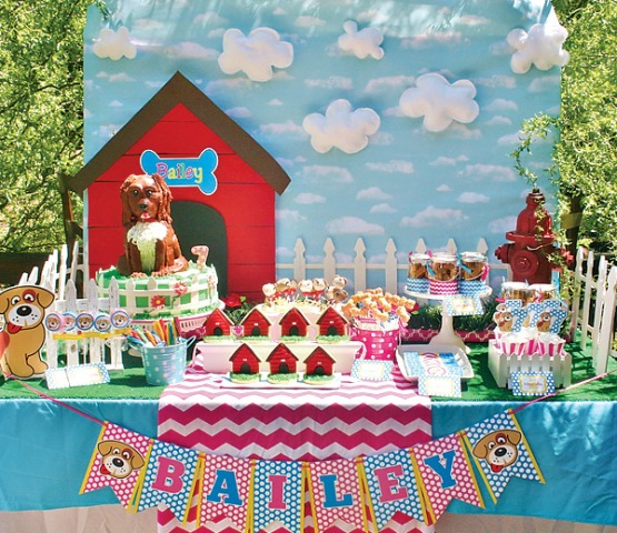 super cute doggy birthday party table