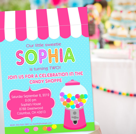 Candy Shoppe Candy Party Invitations