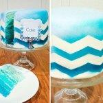 chevron & ombre blue cake