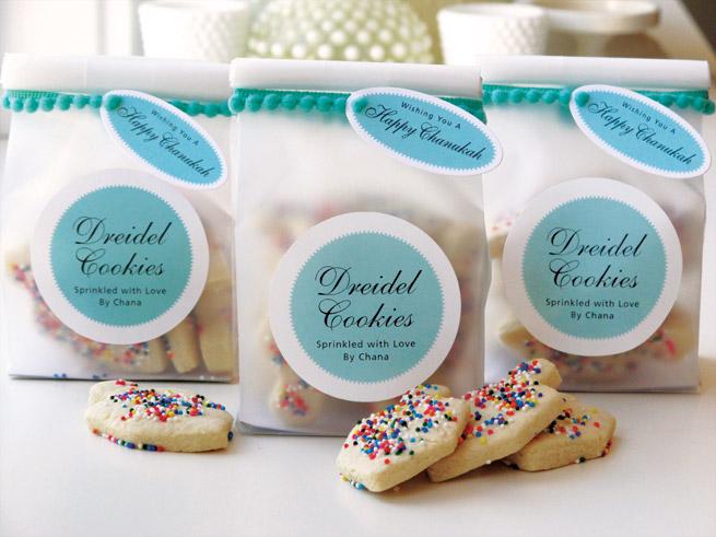 Rainbow sprinkle dreidel cookies