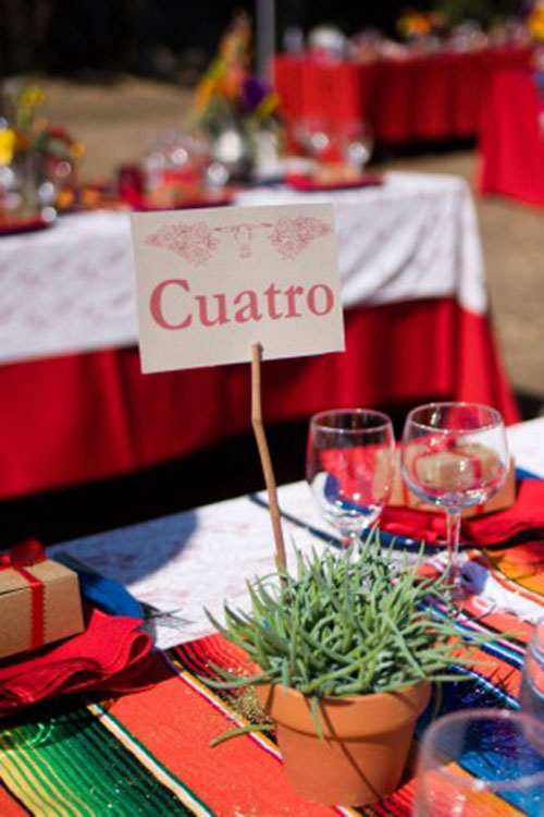 Cute table numbers for a mexican themed wedding