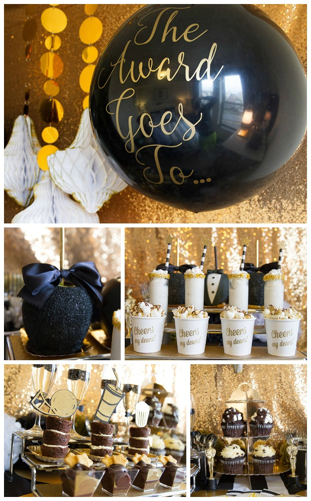 Lovely Tuxedo Black And Gold Oscar Party