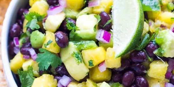 Yummy Mardi Gras Pineapple avovado bean salsa!