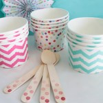 Pink and teal chevron Ice cream cups- See more ice cream party ideas on B. Lovely Events