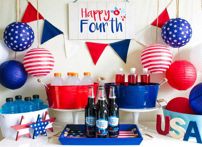 4th Of July Drink Bar That's Full Of Red, White And Blue!