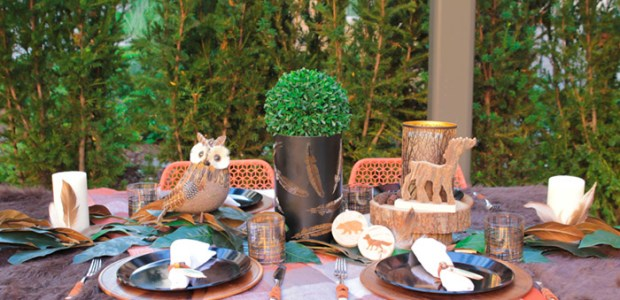 Rustic and woodsy Alfresco Tablescape- See More Woodsy Tablescape Details On B. Lovely Events