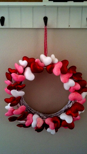 Heart covered Valentine's wreath