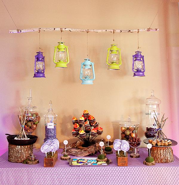 Glamping bridal shower dessert bar