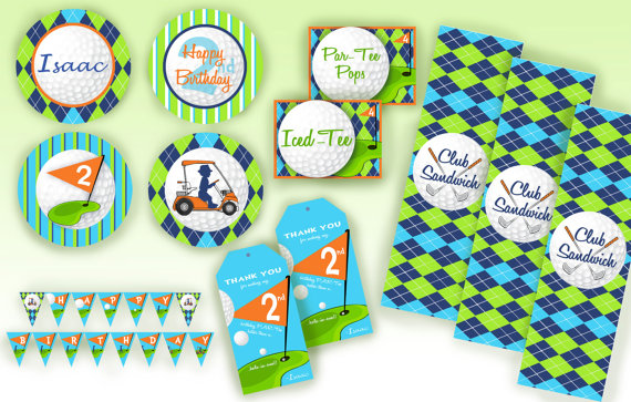 golf party printable set