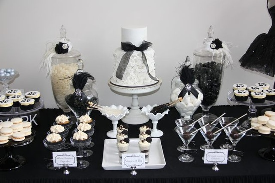 black and white dessert bar for grad party