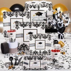 Black and white graduation party set