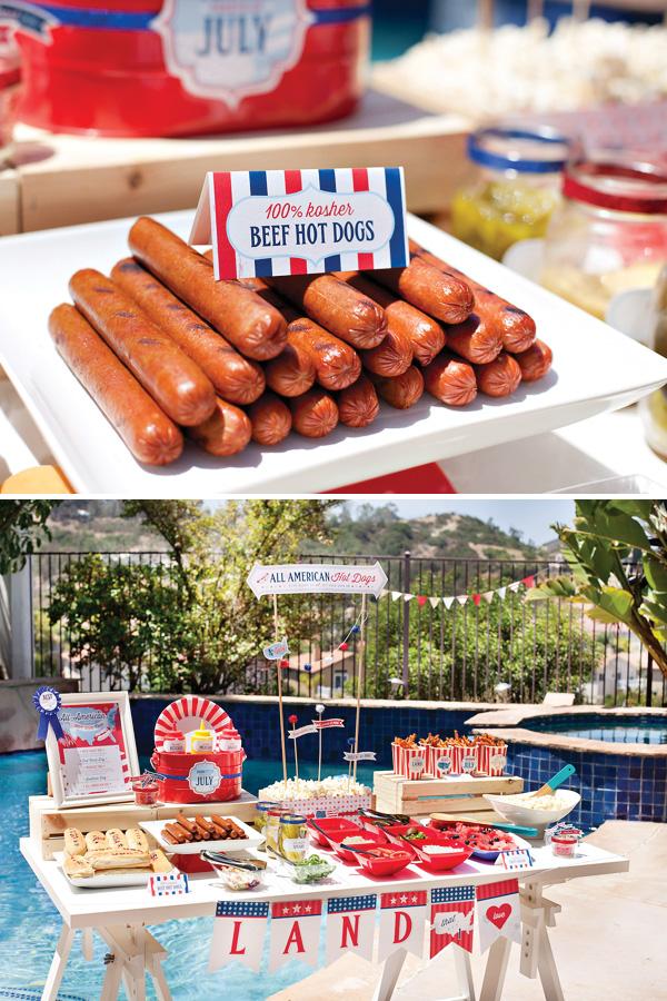 All american hot dog bar for summer bbq