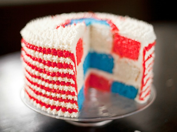 DIY red white and blue velvet cake for 4th of  July