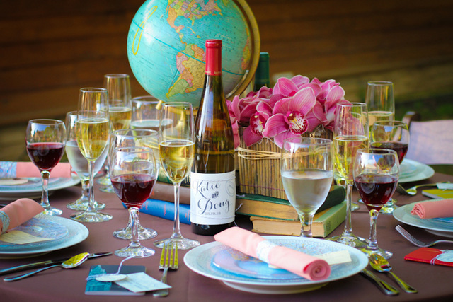 Around the world travel wedding table