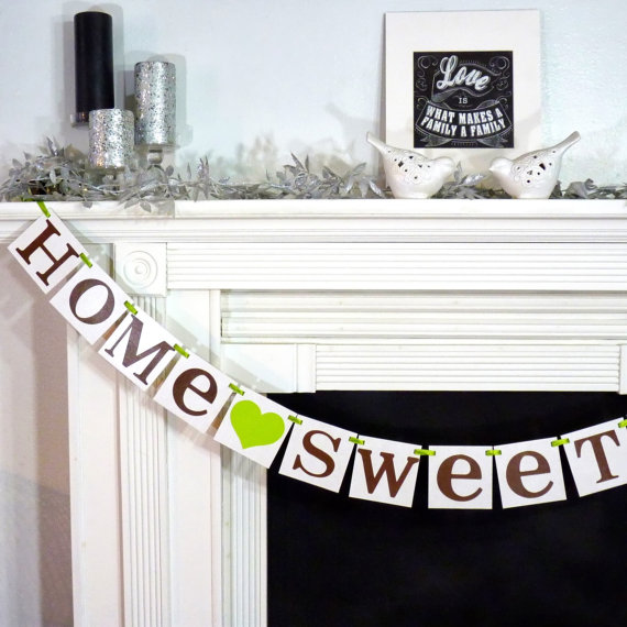 modern brown and green home sweet home housewarming mantle