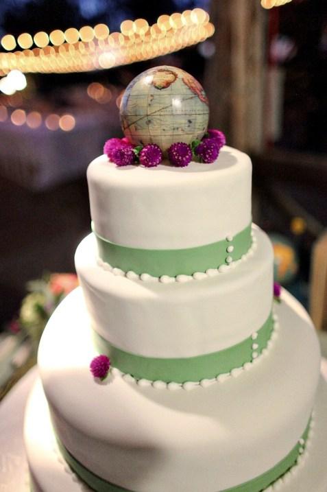 World globe topped wedding cake