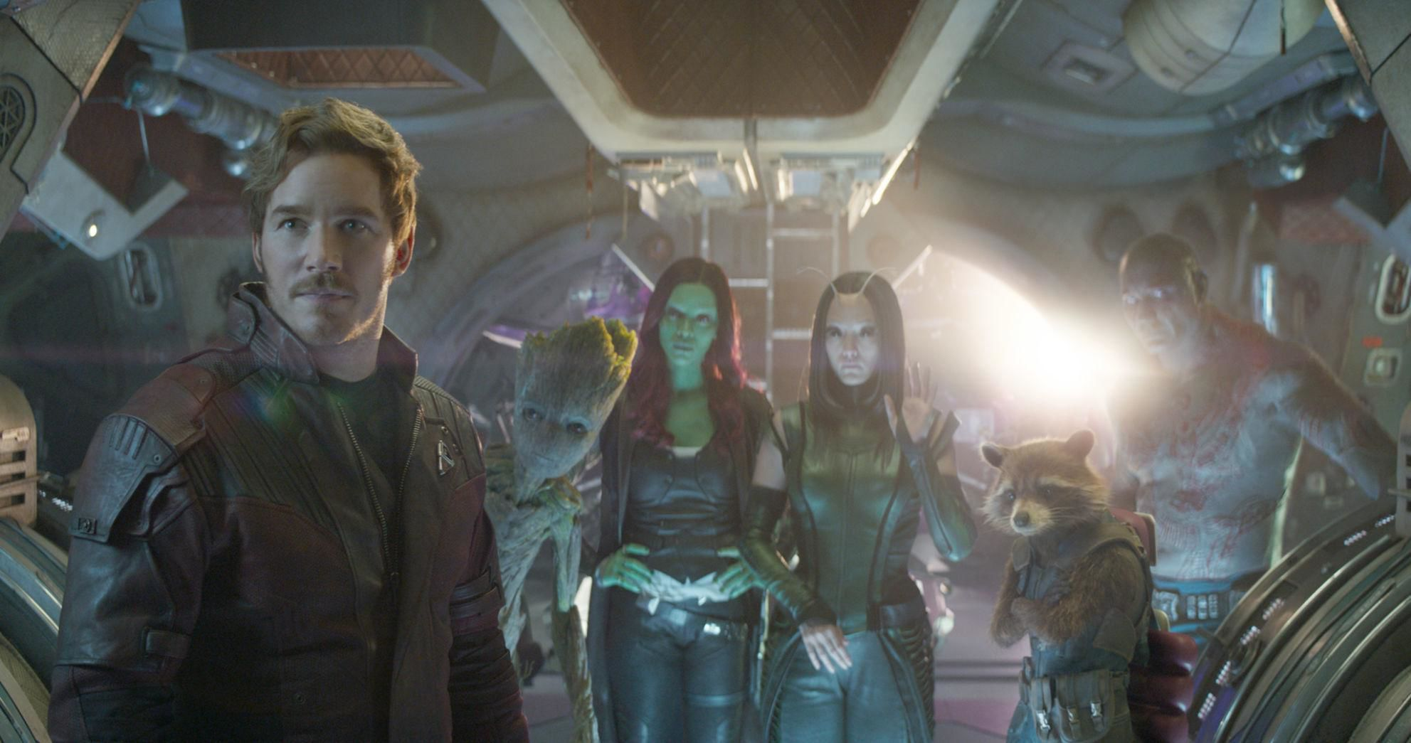 MOVIE REVIEW   Avengers  Infinity War  a cheap buffet for your         Gamora  Zoe Saldana   Mantis  Pom Klementieff   Rocket  voiced by  Bradley Cooper  and Drax  Dave Bautista  star in    Avengers  Infinity War