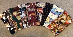 8 Cat Fabric Fat Quarters