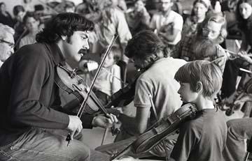 Fiddlers' workshop jam session.