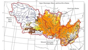 Orange areas represent regions where soybeans and corn make up 40% of the row crop