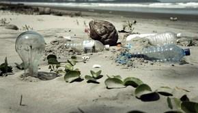 pollution on a Malaysian beach