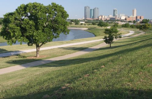 Downtown Fort Worth seen from a park on the Trinity River