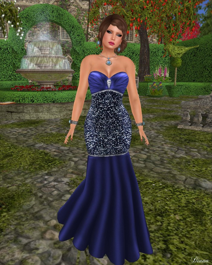 !Rebel Hope - Brandi Mesh Formal Gown Sapphires