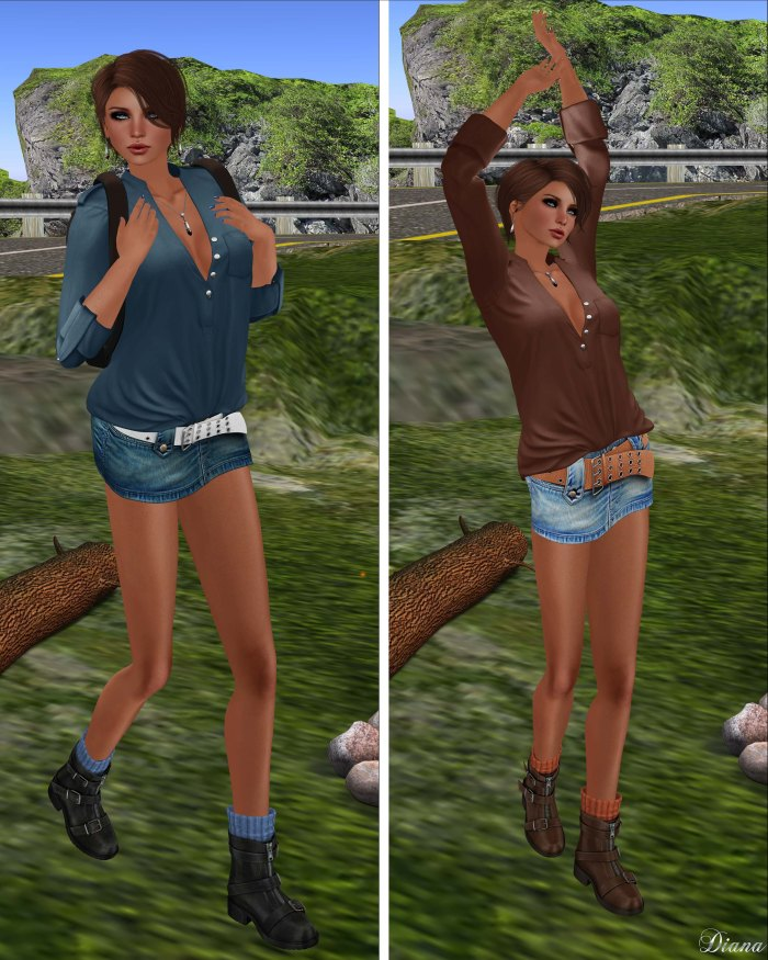 Blueberry - Myst Mesh Unbuttoned Tucked in Shirt and Vio Mesh Belted Denim Skirt-3