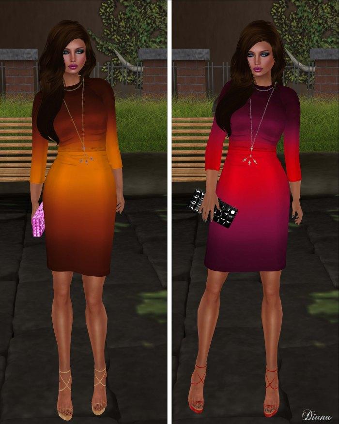 Baiastice - Iggy dress-ombre orangebrown and ombre redwine