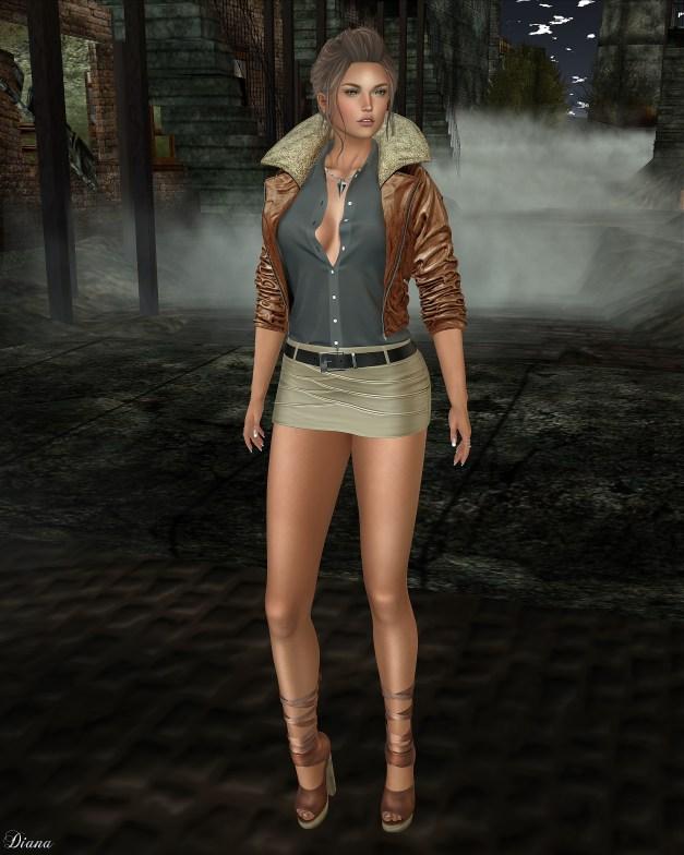 Addams - Lulu Leather Jacket wShirts and Celina Leather Skirt wBelt-2