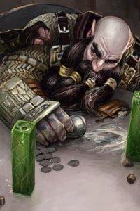 A drunken dwarf lurches at a table.