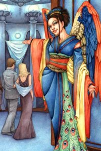 A woman in blue robes and colorful wings invites people into a large room.