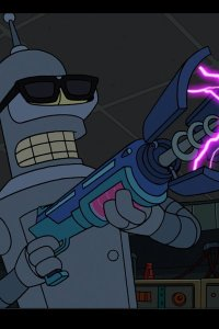 Bender doing his best terminator impression.