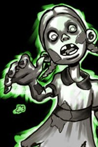 A zombie girl lurches forward.