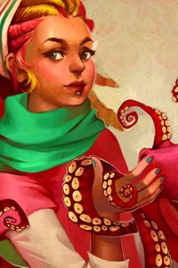 A young woman with a bright green scarf holds a magenta octopus in her hands.