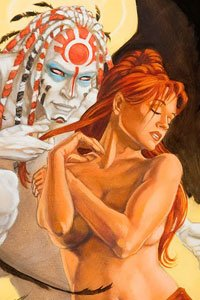 A woman with long red hair is seduced by a pale tattooed man.