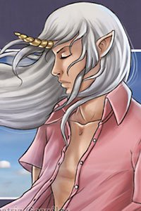 A young man with long white hair and a golden horn on his forehead stands, lost in thought.