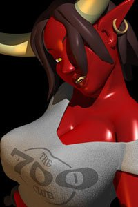 A deep-red busty demon with large horns in a gray sweatshirt grimaces.